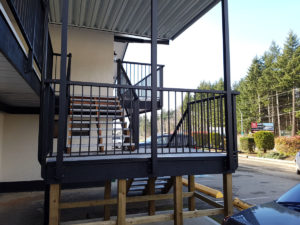 New Railings on the stairs of the Timberlodge Hotel in Port Alberni