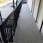 Duradek and new railings for the Timberlodge Hotel in Port Alberni